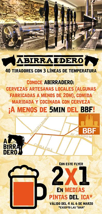 Flyer 2 x 1 en medias pintas en Abirradero (4, 5 y 6 de marzo de 2016)